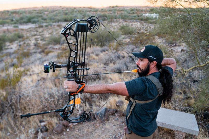 Josh Kirchner from Dialed in Hunter Sighting in his Bow at the archery range in Arizona